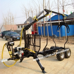 ATV Towable 1.5 ton Mini Gasoline Engine Power Hydraulic Lifting Log Trailer with Crane