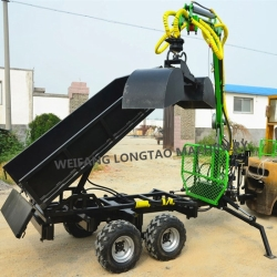 ATV towable wood trailer with crane with tipping dumper