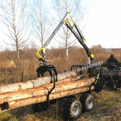 New Condition and ATV Quad Bike Log Trailer with Crane Type Log Loader with Trailer