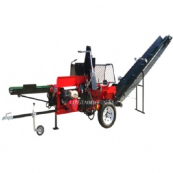 CE Approved 27 ton 15hp Gasoline Engine wood Processor Log Splitter with Hydraulic Conveyor