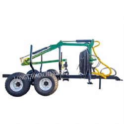 Tractor towable 6ton Log Loading Trailer with Crane timber grapple CE approved